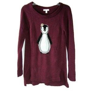 Small LC LAUREN CONRAD Marron Penguin Knit Sweater